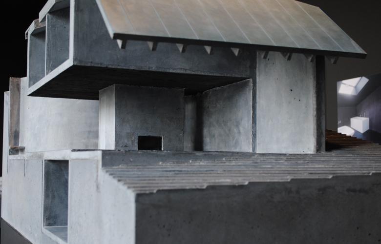 Schnitt Modell Haus Trancauna, Architektur Design